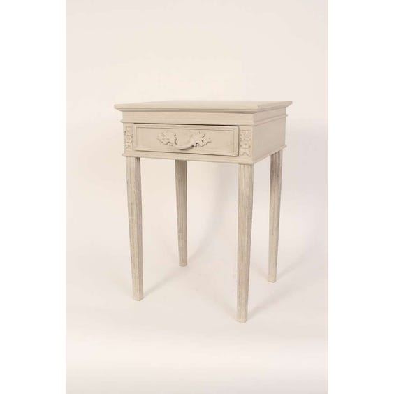 French grey carved bedside table image