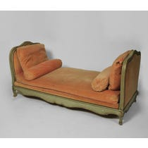 Vintage French peach velvet daybed