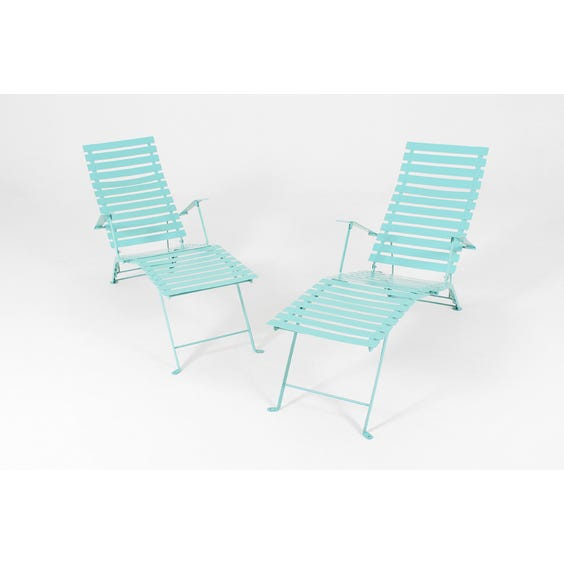 Turquoise bistro slatted sun lounger image