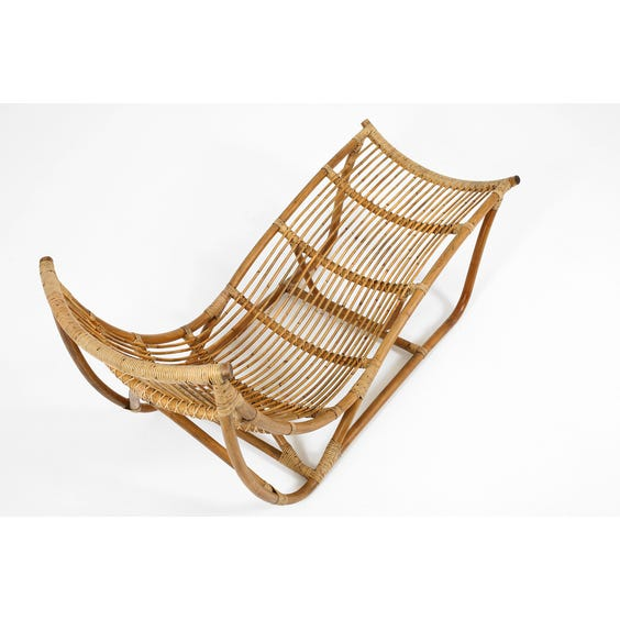 Midcentury rattan chaise longue image
