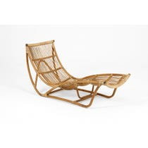 Midcentury rattan chaise longue