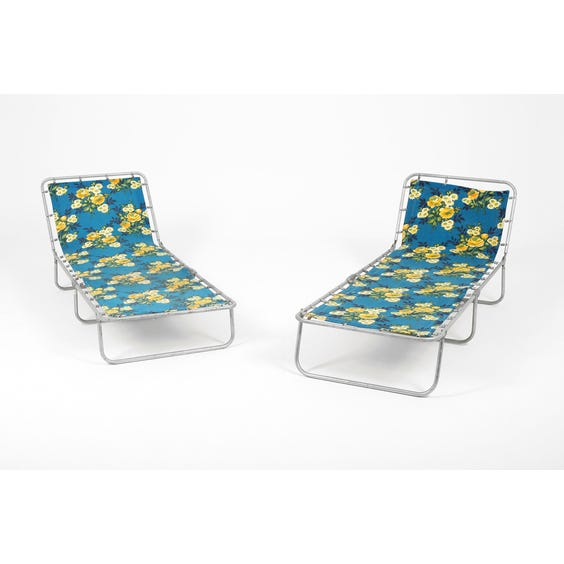 Vintage deep blue and yellow floral fabric sun lounger  image