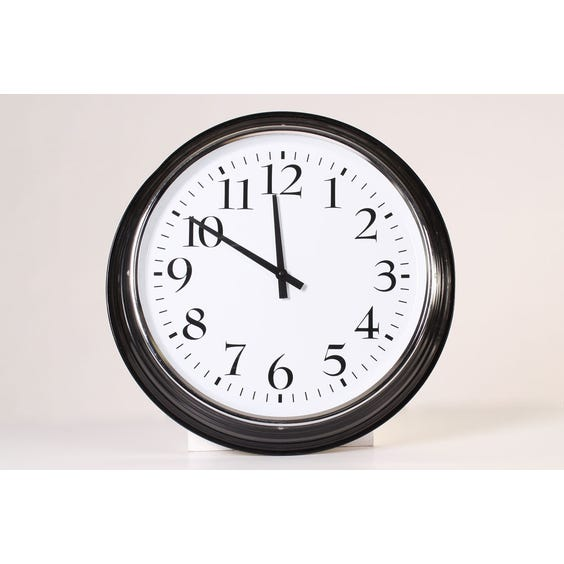 Traditional black and chrome clock image
