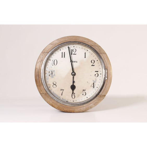 Vintage bleached wood wall clock image