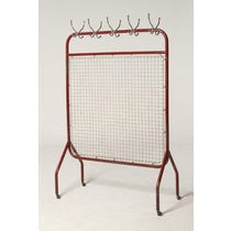 Red metal mesh clothes rail