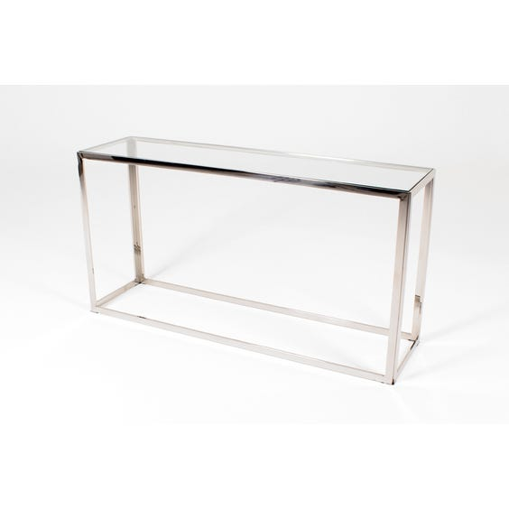 Modern nickel glass console table image