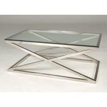 Cross framed chrome coffee table