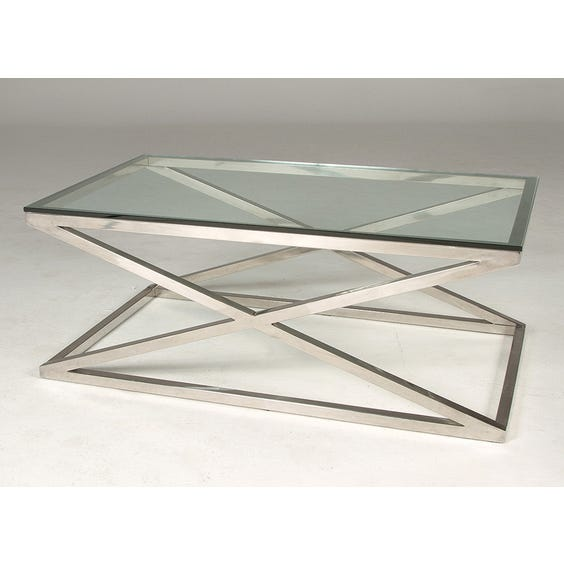 Cross framed chrome coffee table image