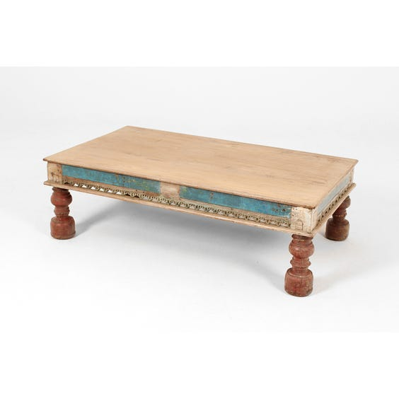 Indian painted wood coffee table image