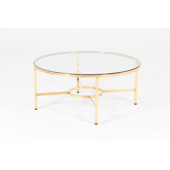 Midcentury polished brass circular coffee table image