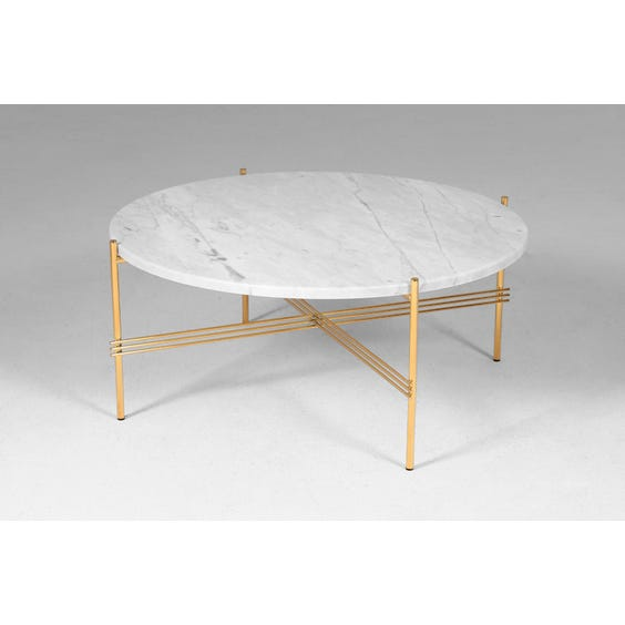Circular white marble coffee table image
