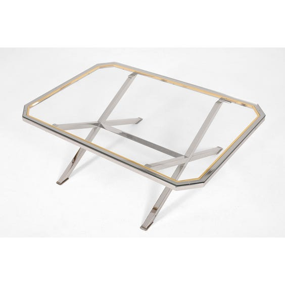 1970s chrome and brass coffee table image