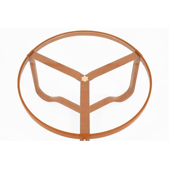 Tan leather circular coffee table image