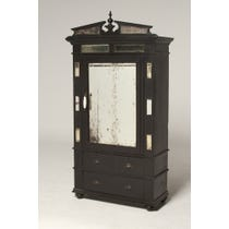 Indian black painted mirrored cabinet