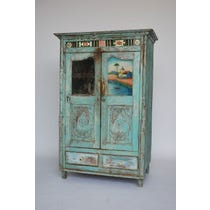 Antique Indian blue painted cupboard