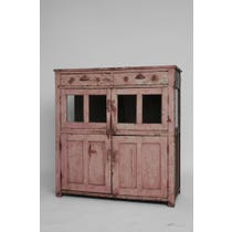 Vintage glazed pink painted cupboard