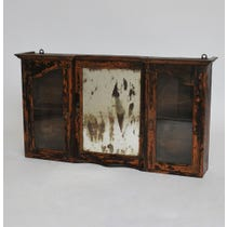 Rustic dark wood mirrored wall cabinet