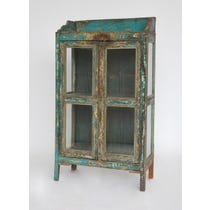 Rustic turquoise painted glazed cabinet
