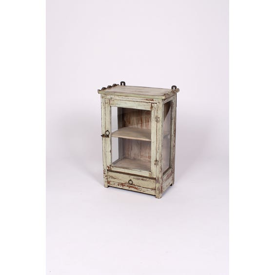 Rustic pale green wall cabinet image