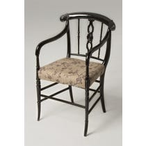 Floral linen black ebonised chair