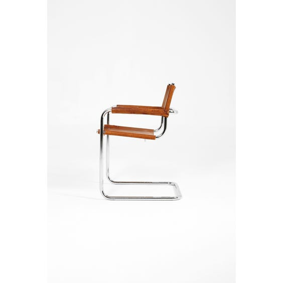 Breuer style tan leather armchair image