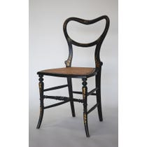Victorian gilt decorated ebonised chair