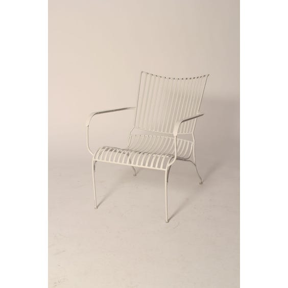 Low white metal garden chair image