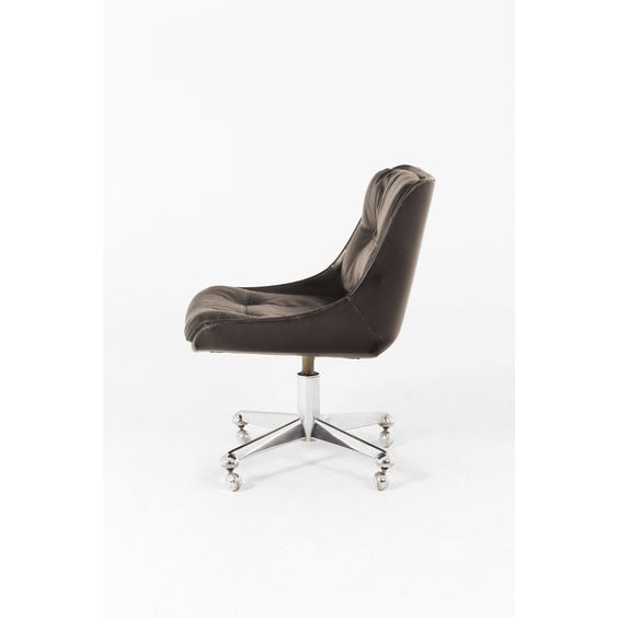 Period black leather desk chair image