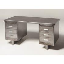 Polished steel lino top desk