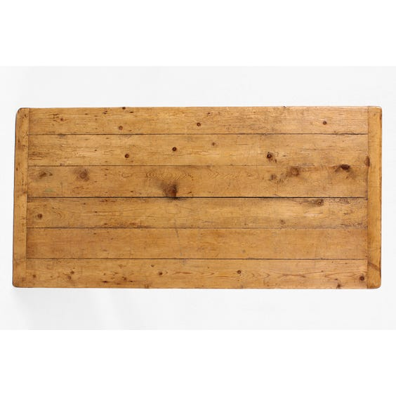 Rustic pine plank top kitchen table image