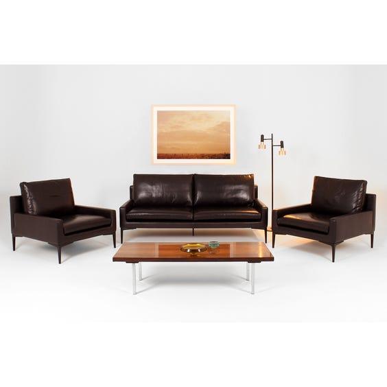 Conran deep black leather 3 seater sofa image