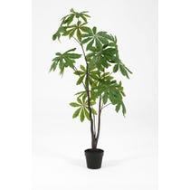 Artificial green schefflera tree