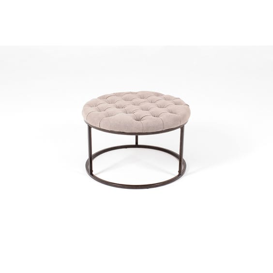 Natural linen buttoned circular footstool image