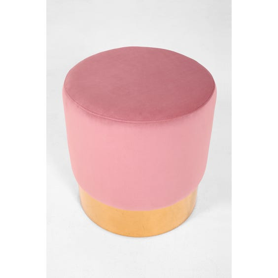 Blush pink velvet footstool image