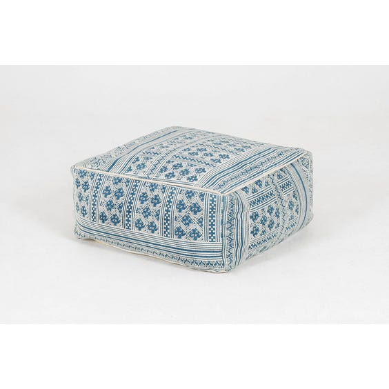 Blue and white woven pouffe image