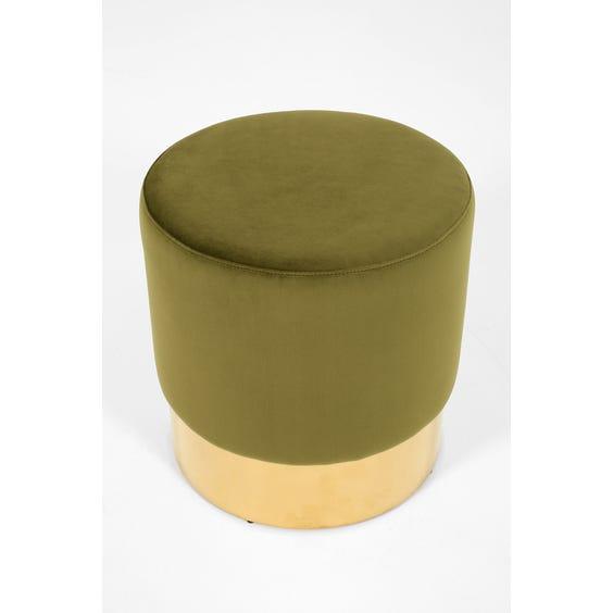 Circular moss green footstool image