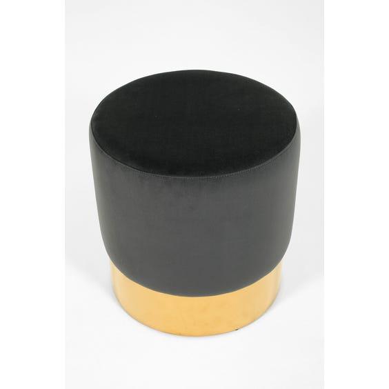 Circular grey velvet footstool image