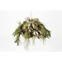 Hanging basket of artificial flowers