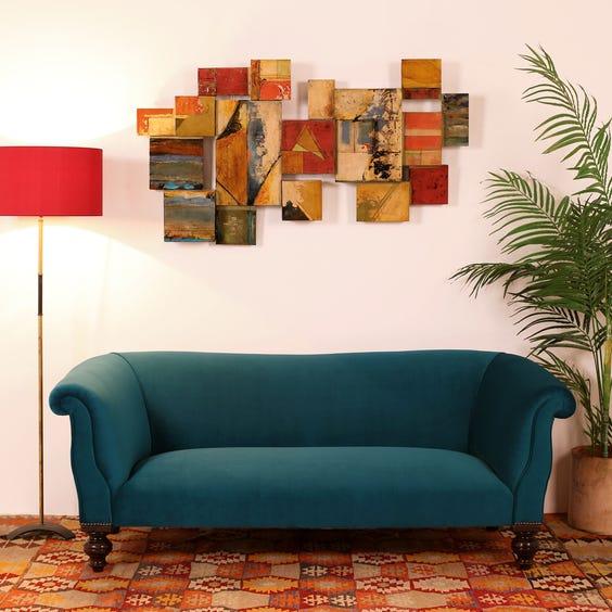 Victorian kingfisher blue sofa image