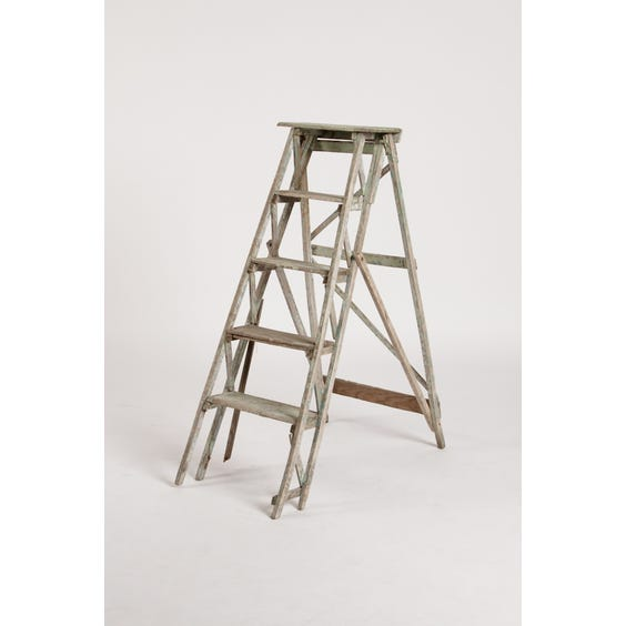 Distressed cream wooden step ladder image