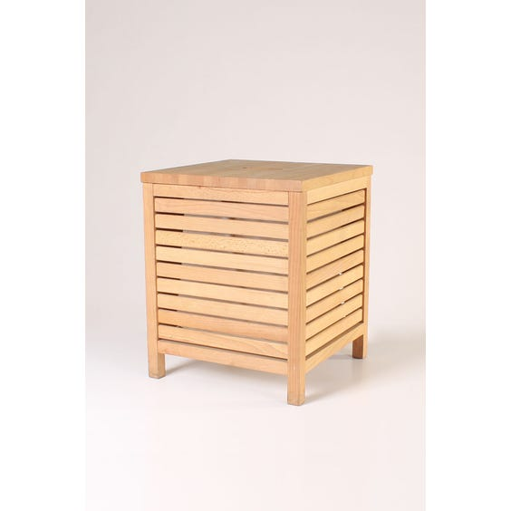 Slatted wooden square laundry bin image