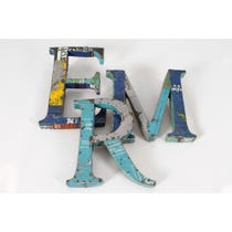 Recycled metal letters 'ERM'