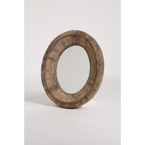 Rustic thick wooden oval mirror image