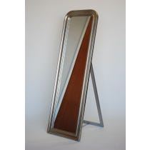 Burnished silver framed cheval mirror