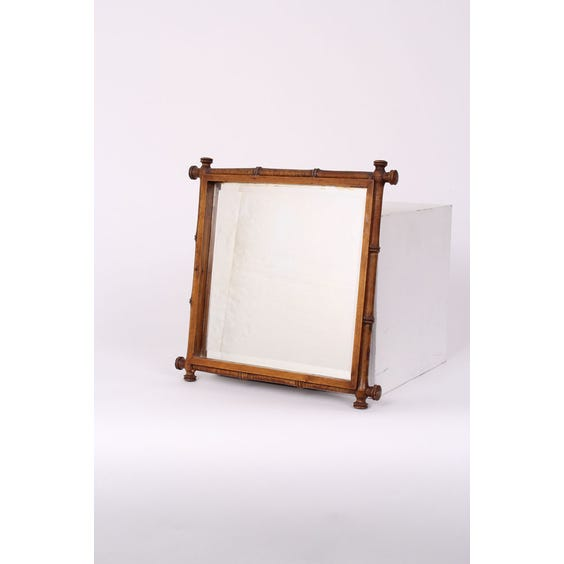 Square carved bamboo frame mirror image