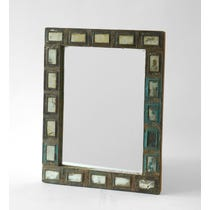 Metal mosaic frame foxed mirror