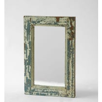 Distressed white and blue mirror