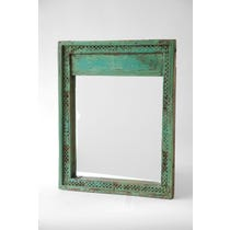 Green painted intricately carved mirror