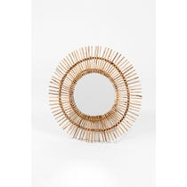 Vintage rattan spiky sunburst mirror