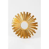 Gold leaf metal sunburst mirror